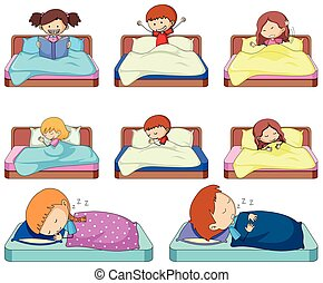 Set of doodle kids in bed