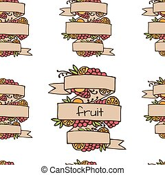 Set of doodle ornate fruit ribbons