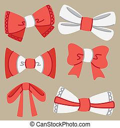 set of doodle ribbon