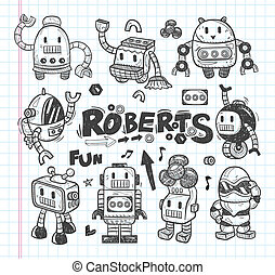 set of doodle robot icons, illustrator line tools drawing