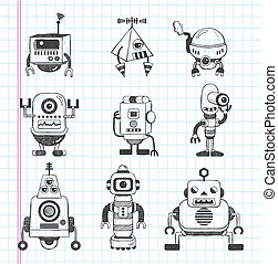 set of doodle robot icons