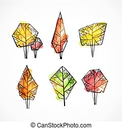 Set of doodle sketch autumn trees on white background