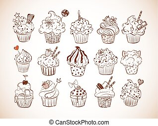 Set of doodle sketch cupcakes with decorations in vintage style. Vector illustration.