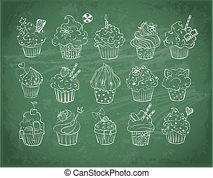 Set of doodle sketch cupcakes with decorations on blackboard background. Vector illustration.