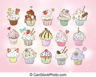 Set of doodle sketch cupcakes with decorations on pink background. Vector illustration.