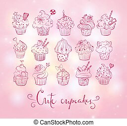 Set of doodle sketch cupcakes with decorations on pink glowing background. Vector illustration.
