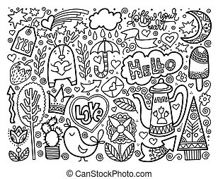 set of doodle sketch drawing nice elements, black and white vect