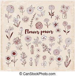 Set of doodle sketch flowers on vintage background. Vector illustration