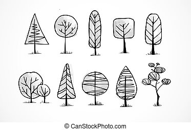 Set of doodle sketch trees on white background