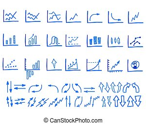 Set of doodle, sketched, hand drawn business management infographics elements, icons, arrows, charts. Isolated on white background.