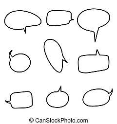 Set of doodle speech balloons