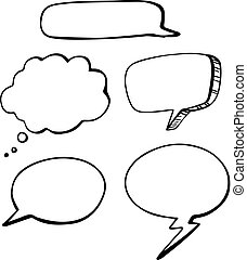 Set of doodle speech bubbles