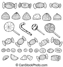 set of doodle sweets