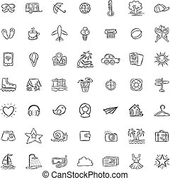 Set of Doodle Travel Icons.