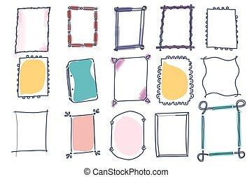 Set of doodle vector frames on white background
