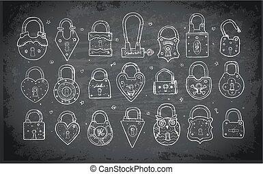 Set of doodle vintage locks on blackboard background. Vector sketch illustration.