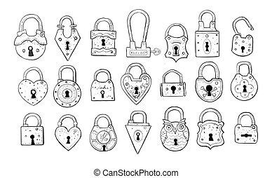 Set of doodle vintage locks on white background. Vector sketch illustration.