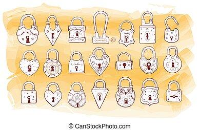 Set of doodle vintage locks. Vector sketch illustration.