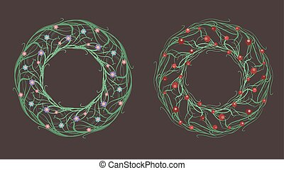 Set of doodle wreath of branches, flowers and berries. Vector element for invitations, greeting cards, and your creativity
