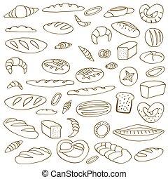 Set of doodles bread