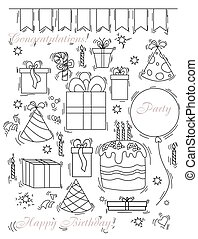 Set of doodles for party and birthday. Balloons and boxes, candies, sweets and a cake with candles and a cap, a hat for the birthday boy. line drawing isolated on white background. Vector