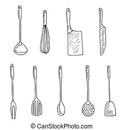 set of doodles kitchen tools, vector illustration