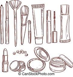 Set of doodles on cosmetics pencil, brush, blush, lipstick,...