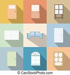 Set of door vector cartoon