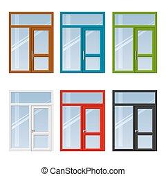 Set of doors and windows