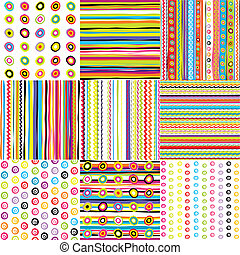 Set of doted and striped backgrounds for kids