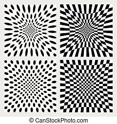 Set of dotted / checkered backgrounds, patterns. Distorted backdrops.