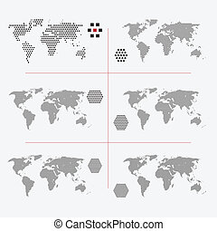 Set of dotted world maps in different resolution - Set of...