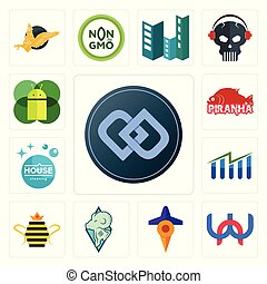 Set of double d, wn, travel, rams, queen bee, free stock, house cleaning, piranha, mobile os a icons