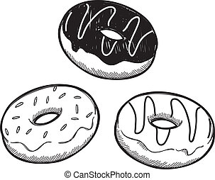 set of doughnut doodle isolated on white background