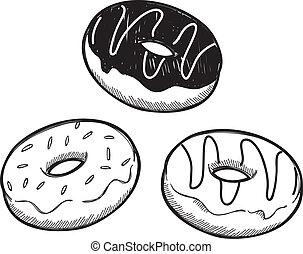 set of doughnut doodle isolated on white background