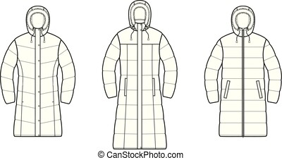 Set of down long coat