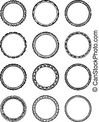 Set of dozen grunge vector templates for rubber stamps