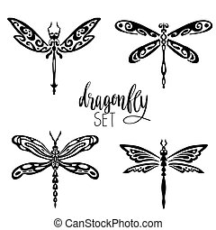 Set of dragonflies for tattoo - Set of black dragonflies...
