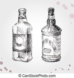 Set of drawing bottle, whiskey and