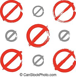 Set of drawing realistic ban signs - Set of hand-drawn...