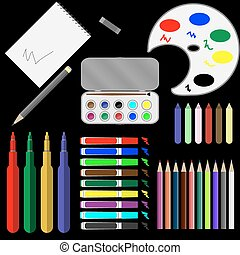 Set of drawing tools. Paint brush, equipment and marker,...