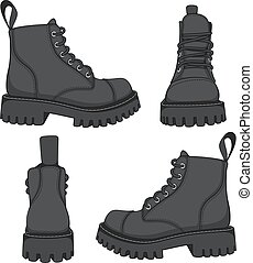 Set of drawings with black boots.