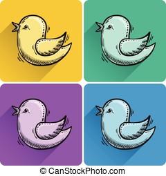 Set of drawn flying bird icon