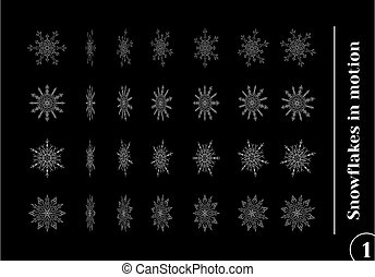 Set of drawn snowflake silhouettes in motion