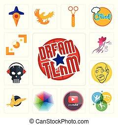 Set of dream team, swim bike run, pinetree, heptagon, gryphon, patel, skull with headphone, parlour, viewfinder icons