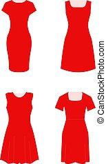 Set of four female dresses.
