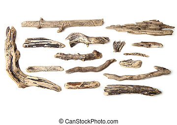 Set of driftwood isolated on white background. - Pieces of...