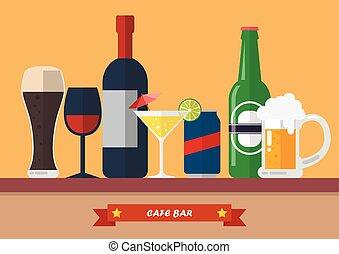 Set of drink bar flat icon