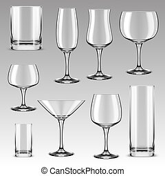 Set of drinking glass for alcohol beverage, water