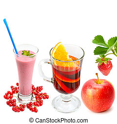 drinks from currant, orange, apple and strawberry isolated on a white background. Collage.